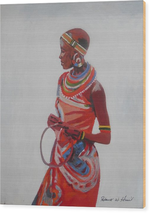African American Art Wood Print featuring the painting African Lady In Red by Patrick Hunt