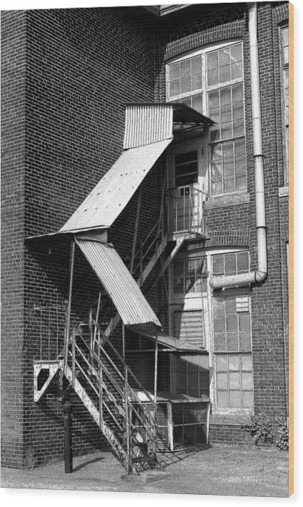 Black & White Wood Print featuring the photograph Factory Stairs by Michael Vinyard