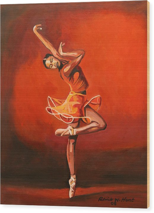 Ballet Dancer Wood Print featuring the painting Ballet Lady by Patrick Hunt