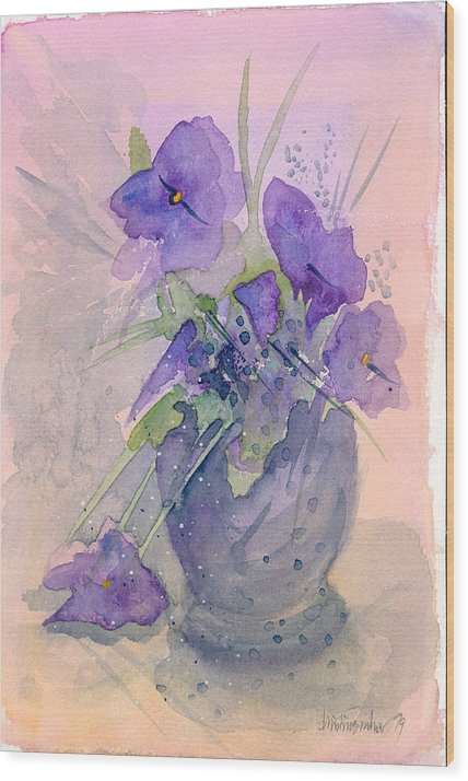 Purple Wood Print featuring the painting Violets by Christina Rahm Galanis
