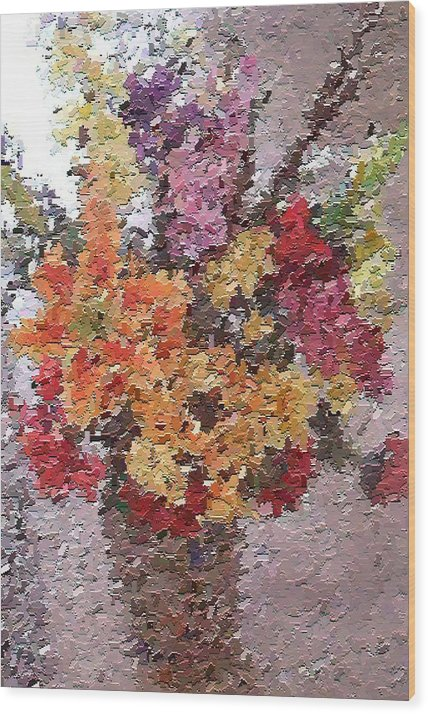 Still Life Wood Print featuring the painting Floral Arrangement by Don Phillips