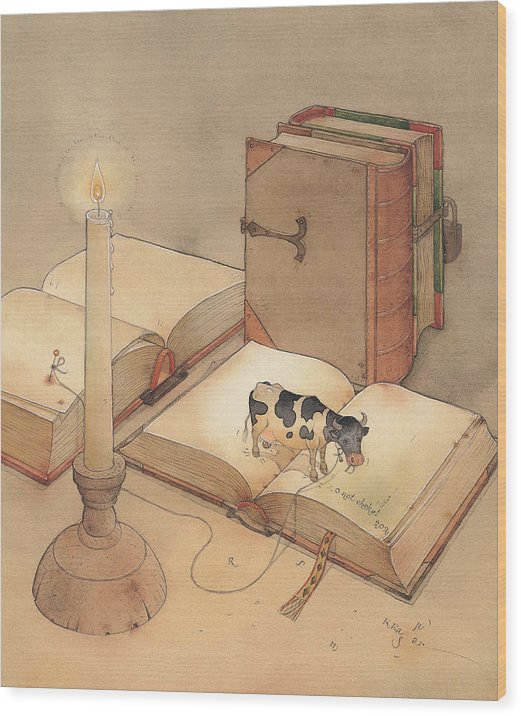 Science Books Cow Candle Reading Wood Print featuring the painting Bookish Cow by Kestutis Kasparavicius