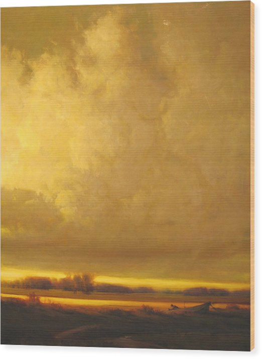 Landscape Wood Print featuring the painting Fished Out by Martin Poole