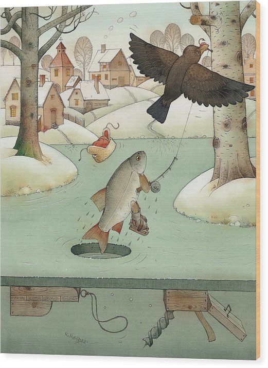 Landscape Winter Fishing Crow Wood Print featuring the painting Fishing by Kestutis Kasparavicius
