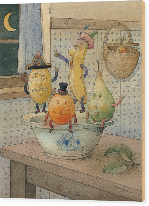 Night Moon Fruits Kitchen Wood Print featuring the painting Fruits by Kestutis Kasparavicius