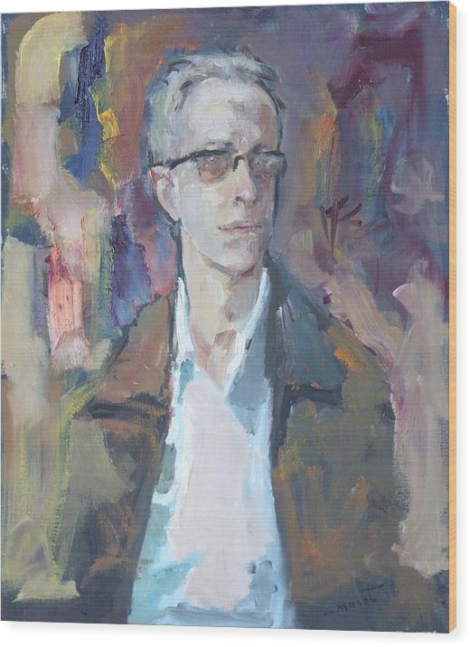 Man In Glasses Wood Print featuring the painting Portrait Of A Man by Murat Kaboulov