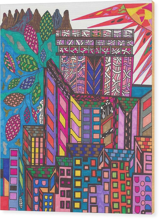 N.y. Wood Print featuring the drawing The City That Never Sleeps by Eric Devan