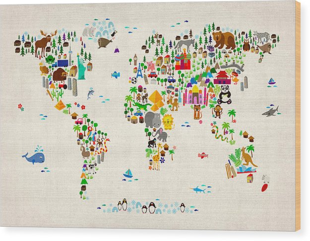 Map Of The World Wood Print featuring the digital art Animal Map of the World for children and kids by Michael Tompsett