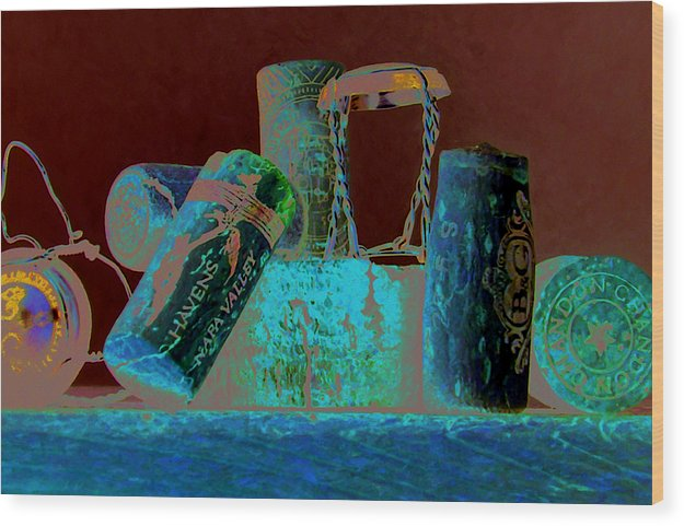Wine Wood Print featuring the painting Domain Chandon by Randy Ford