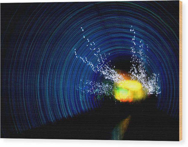 Abstract Wood Print featuring the photograph Tunnel Vision II by Erika Lesnjak-Wenzel