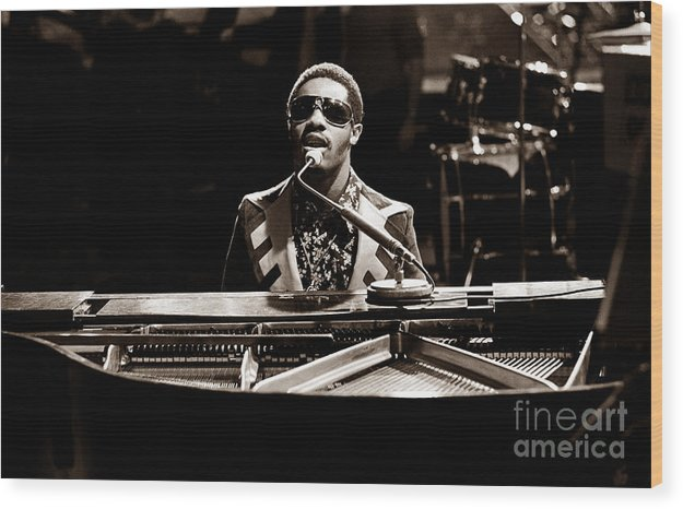 Stevie Wonder Wood Print featuring the photograph Stevie Wonder Softer Gentle Mood - Sepia by Chris Walter