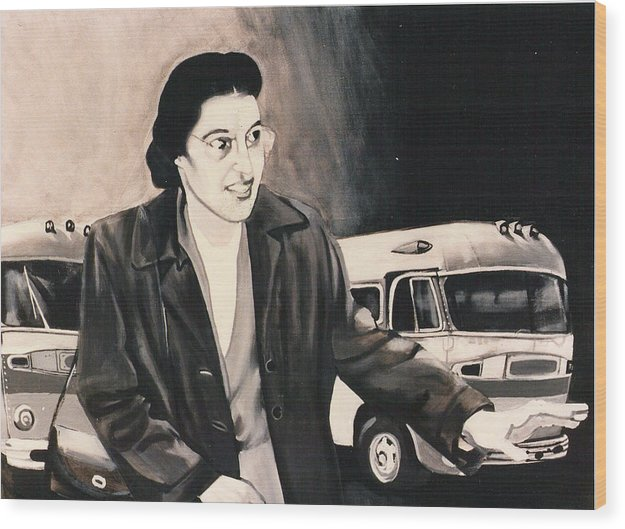 Rosa Parks;bus;civil Rights;civil Rights Era;bus Boycott;boycott;civil Rights History; Wood Print featuring the painting Rosa Parks by Howard Stroman