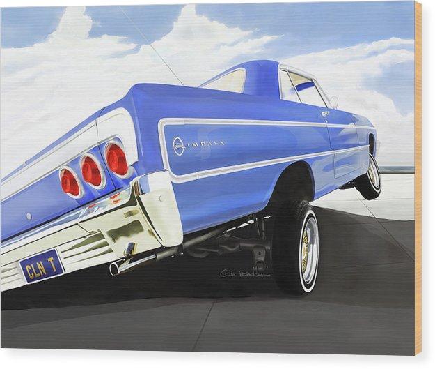 Lowrider Wood Print featuring the digital art 64 Impala Lowrider by Colin Tresadern