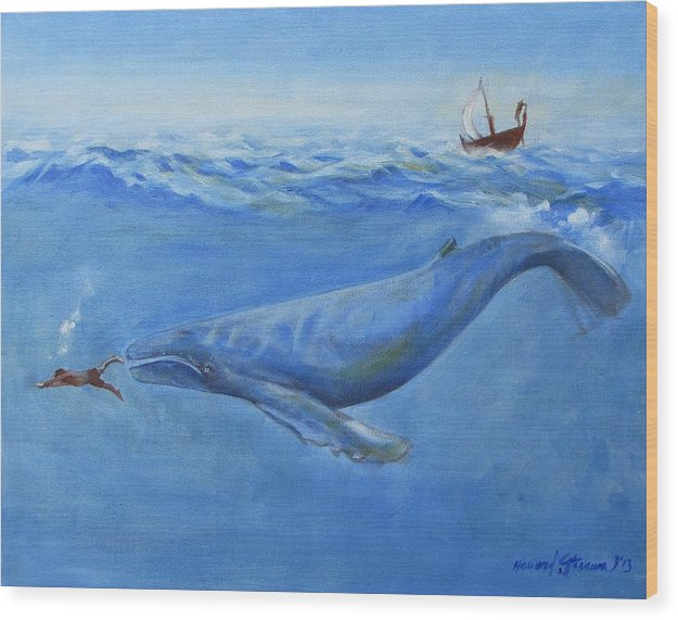 Bible;jonah And The Whale;whale;humpback Whale;mammals;sea Mammals;stormy Sea;fish;boat;waves;religion;old Testiment;spiritual;god And Religion;ad;seascape;water;sky;weather Wood Print featuring the painting Jonah by Howard Stroman