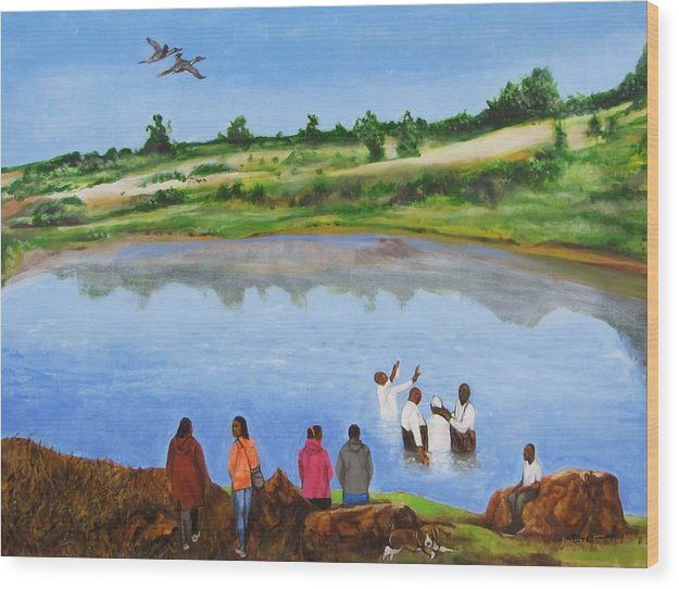 Baptism;church;religion;ceremony;river;water;birds;landscape;trees;rocks;people;bible;nature;outdoors;sky Wood Print featuring the painting Arrival At The Baptism by Howard Stroman