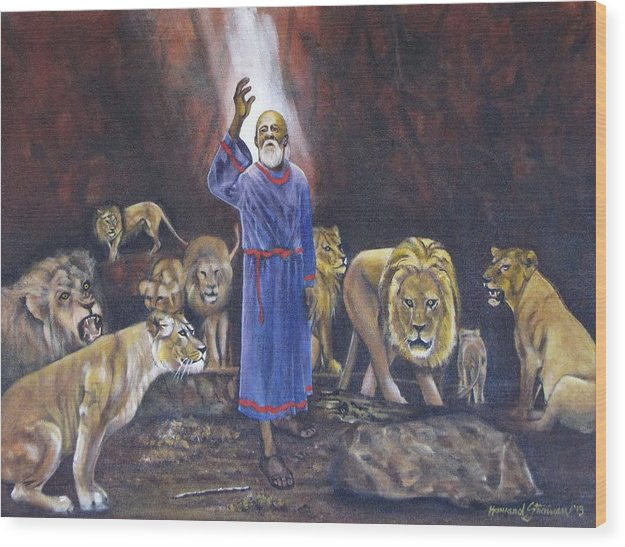 Daniel In The Lions Den; Lions; Animals; Rock; Bible; Biblical; Religion; Old Testiment; Wood Print featuring the painting Daniel by Howard Stroman
