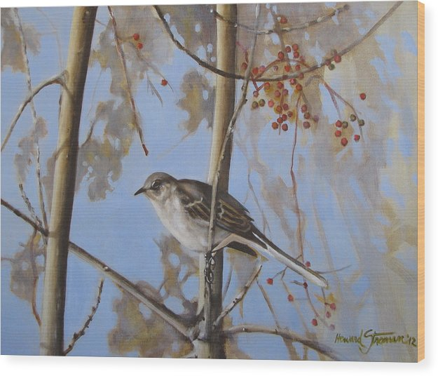 Bird;nature;outdoor;landscape;trees;sky; Wood Print featuring the painting Cold Day by Howard Stroman