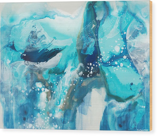 Abstract Wood Print featuring the painting Brave Depths by Claire Desjardins