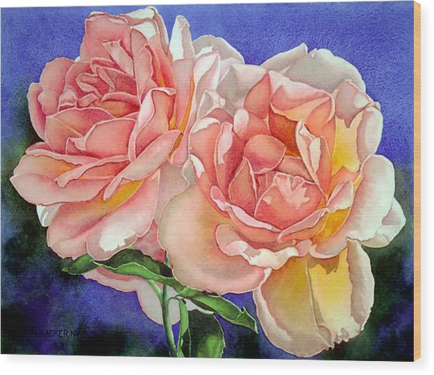 Floral Wood Print featuring the print Essence by Mary Backer