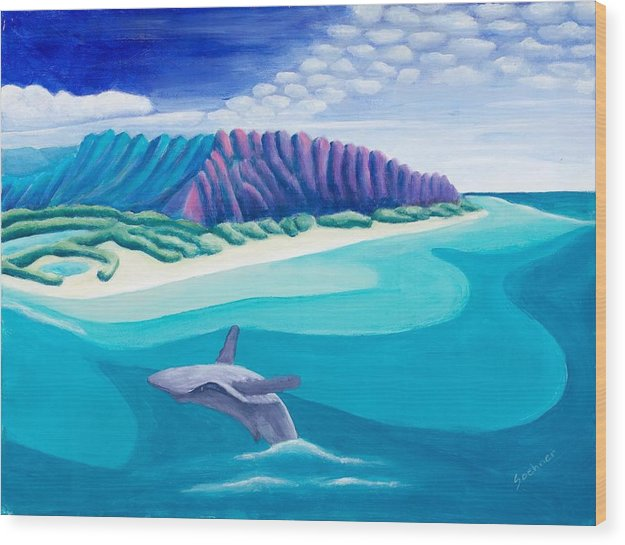 Landscape Wood Print featuring the painting Hawaiian Playground by Lynn Soehner
