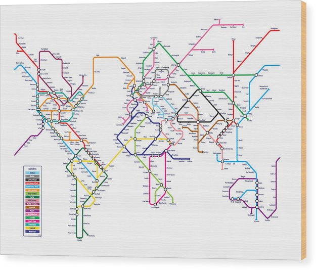 World Map Wood Print featuring the digital art World Metro Map by Michael Tompsett
