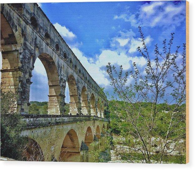 Europe Wood Print featuring the digital art Pont Du Gard by Scott Waters