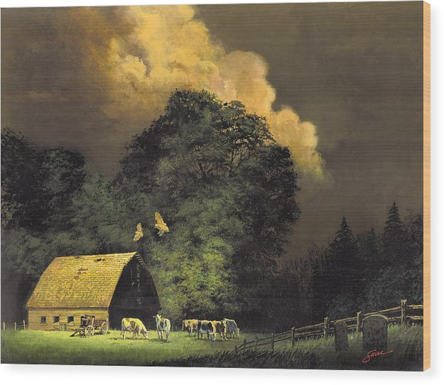 #home From The Hunt Wood Print featuring the painting Home From The Hunt by Harold Shull