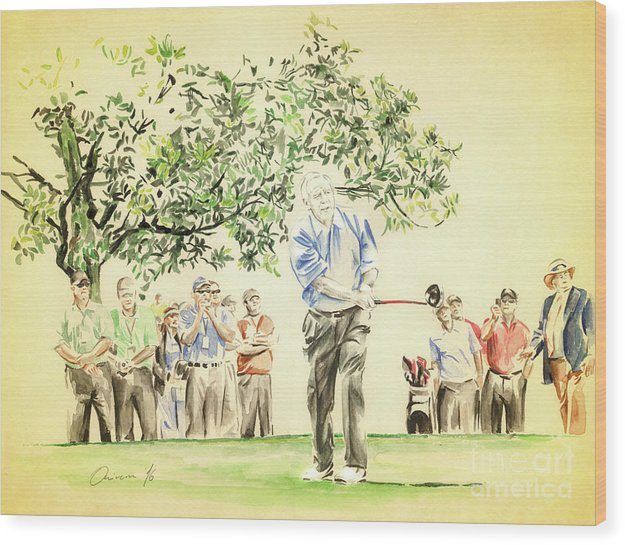 Arnold Palmer Wood Print featuring the painting The King under Magnolia by Olivera Cejovic