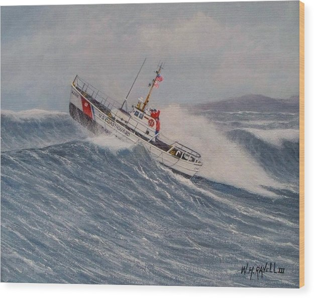 Coast Guard. Surf Boat Wood Print featuring the painting Coast Guard Motor Lifeboat Intrepid Version 2 by William H RaVell III
