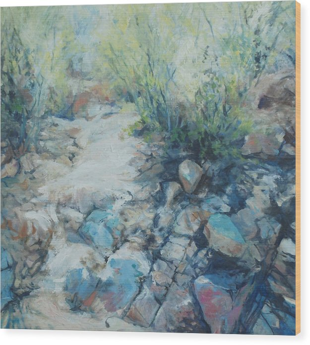 Desert Wood Print featuring the painting Trail Incline by Marilyn Muller