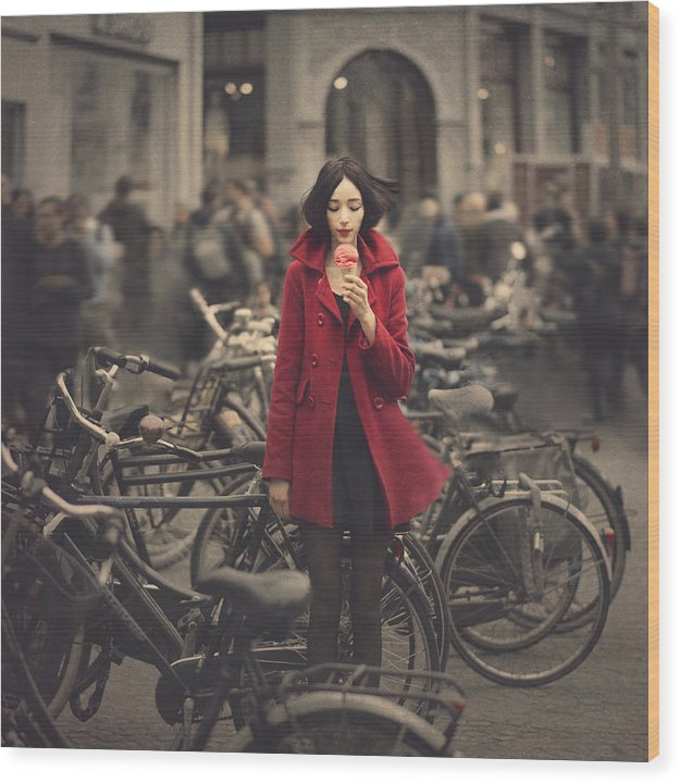 By Anka Zhuravleva Wood Print featuring the photograph raspberry sorbet in Amsterdam by Anka Zhuravleva