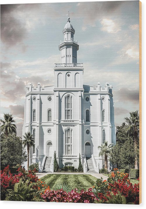 Saint Wood Print featuring the photograph St George Temple - Tower of the Lord by Brent Borup