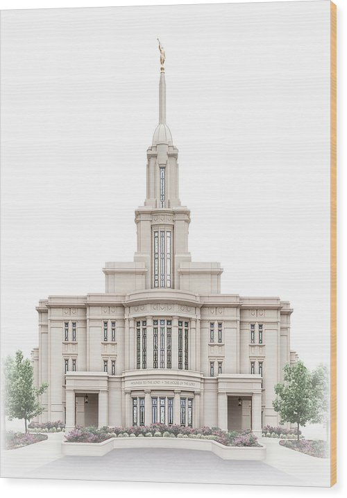 Payson Wood Print featuring the digital art Payson Temple - Celestial Series by Brent Borup