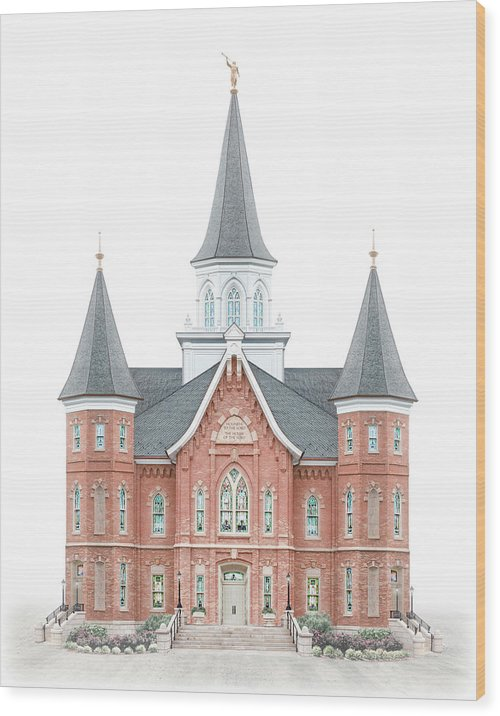 Provo City Center Wood Print featuring the digital art Provo City Center Temple - Celestial Series by Brent Borup