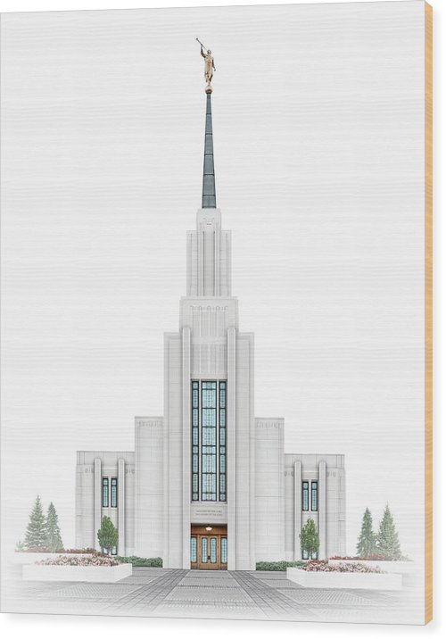 Twin Falls Wood Print featuring the digital art Twin Falls Temple - Celestial Series by Brent Borup