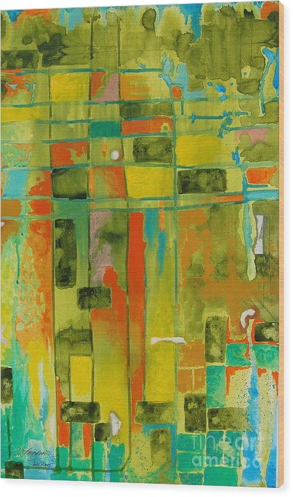 Abstract Wood Print featuring the painting Untitled 6 by Padmakar Kappagantula