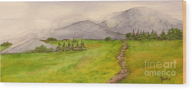 Paintings Wood Print featuring the painting Morning Fog by Regan J Smith