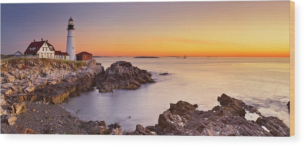 Water's Edge Wood Print featuring the photograph Portland Head Lighthouse, Maine, Usa At by Sara winter