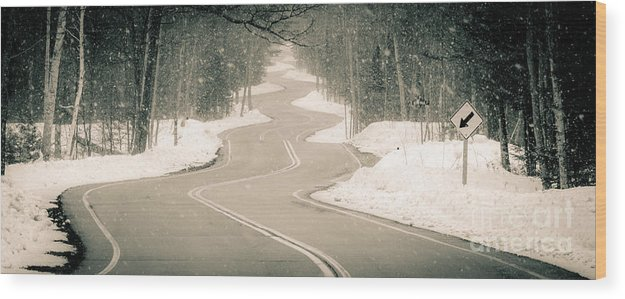 Door County Wood Print featuring the photograph A Winding Winter Wonderland by Ever-Curious Photography