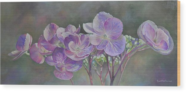 Acrylic Wood Print featuring the painting Hortensia de St Jean by Muriel Dolemieux