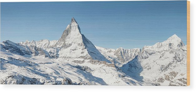 Scenics Wood Print featuring the photograph Matterhorn Panorama by Georgeclerk