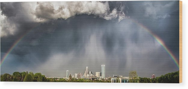 Rainbow Wood Print featuring the photograph Rainbow over Charlotte by Chris Austin