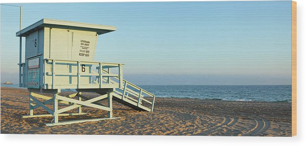 Water's Edge Wood Print featuring the photograph Santa Monica Lifeguard Station by S. Greg Panosian