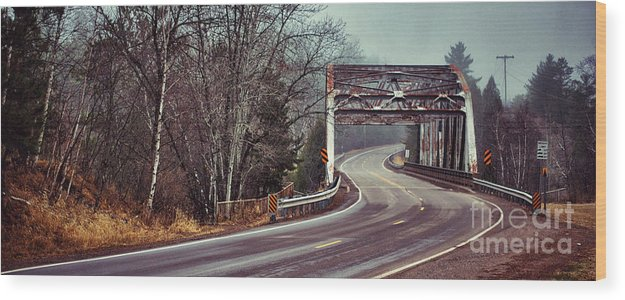 Road Wood Print featuring the photograph Around The Bend And Across by Ever-Curious Photography