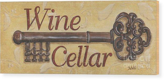 Wine Wood Print featuring the painting Wine Cellar by Debbie DeWitt