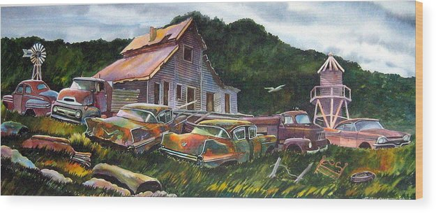 Cadillacs Wood Print featuring the painting Cadillac Ranch by Ron Morrison