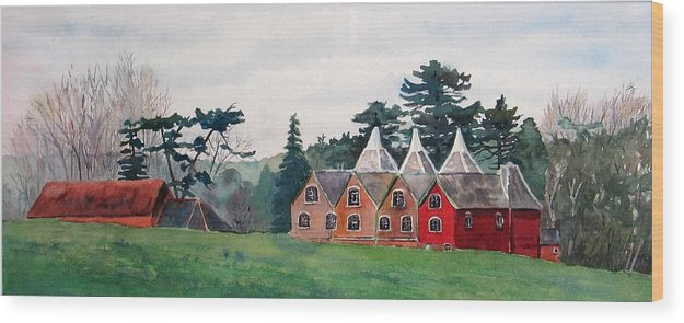 Oast House Wood Print featuring the painting Kent Country Houses by Debbie Homewood