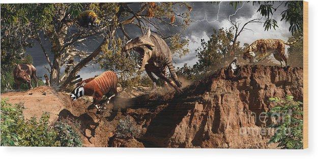 Paleoart Wood Print featuring the digital art Oligocene mural by Julius Csotonyi