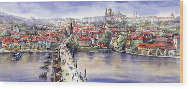 Watercolour Wood Print featuring the painting Panorama with Vltava river Charles Bridge and Prague Castle St Vit by Yuriy Shevchuk