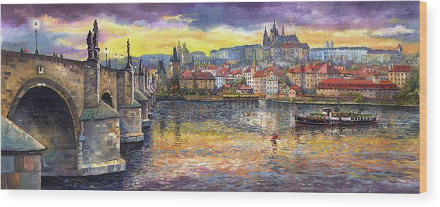 Oil On Canvas Wood Print featuring the painting Prague Charles Bridge and Prague Castle with the Vltava River 1 by Yuriy Shevchuk